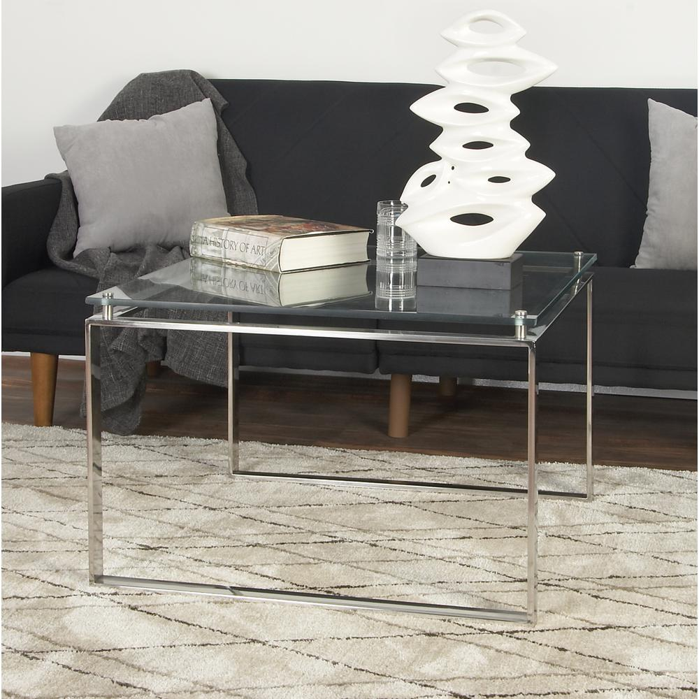 Litton Lane Clear Glass Coffee Table With Silver Stainless Steel Legs