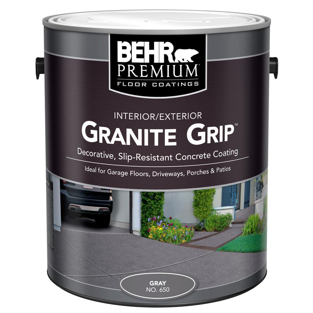 BEHR 1 gal. #65001 Gray Granite Grip Interior/Exterior Concrete ...