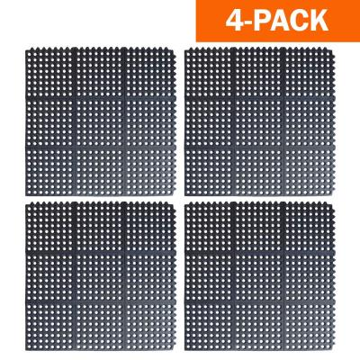Indoor/Outdoor Anti-Fatigue 36 in. x 36 in. Commercial Home Restaurant Bar Rubber Interlocking Floor Mats (4-Pack)