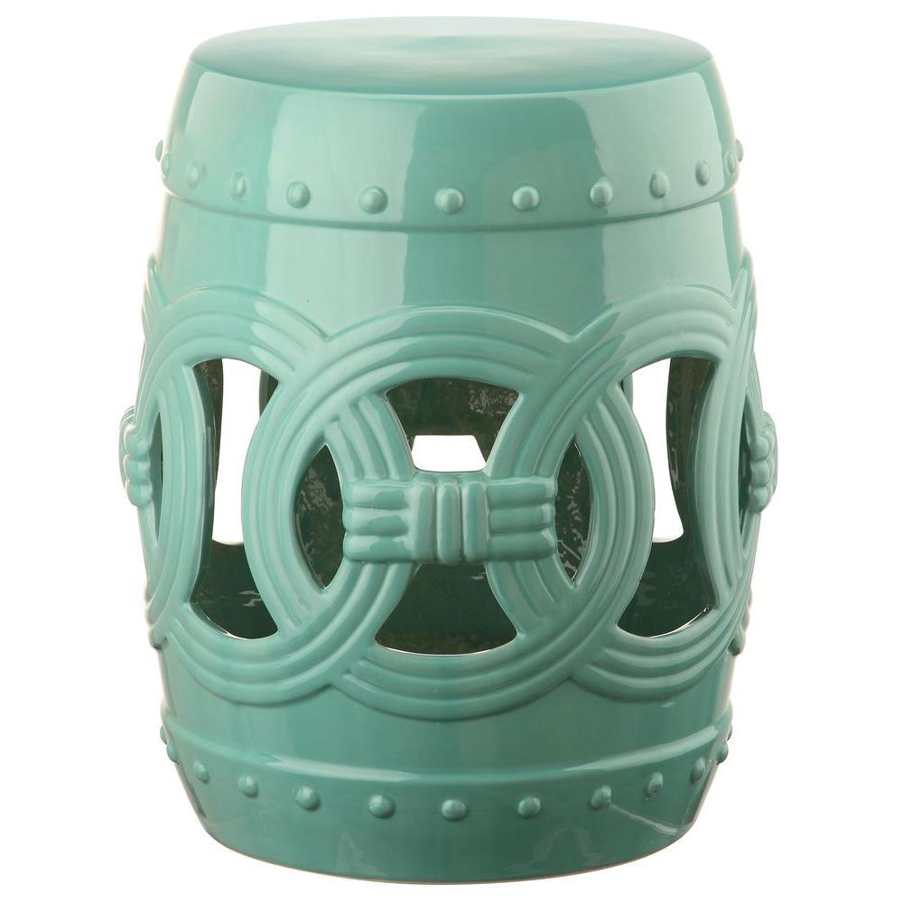 Double Coin Light Blue Ceramic Garden Stool