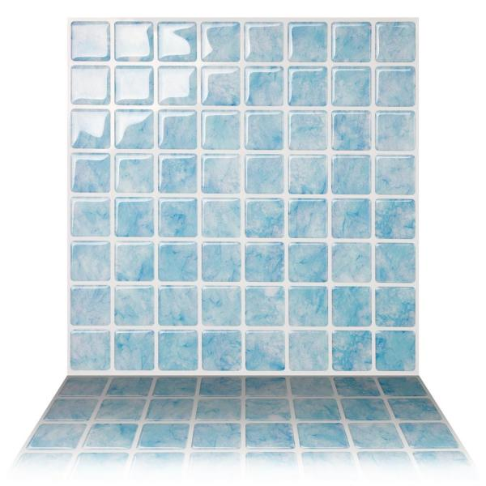 Vetro Aqua 10 in. W x 10 in. H Peel and Stick Self-Adhesive Decorative Mosaic Wall Tile Backsplash (5-Tiles)