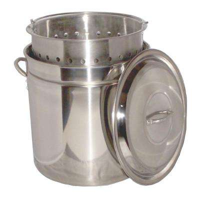62 qt. Stainless Steel Stock Pot with Basket and Steam Rim