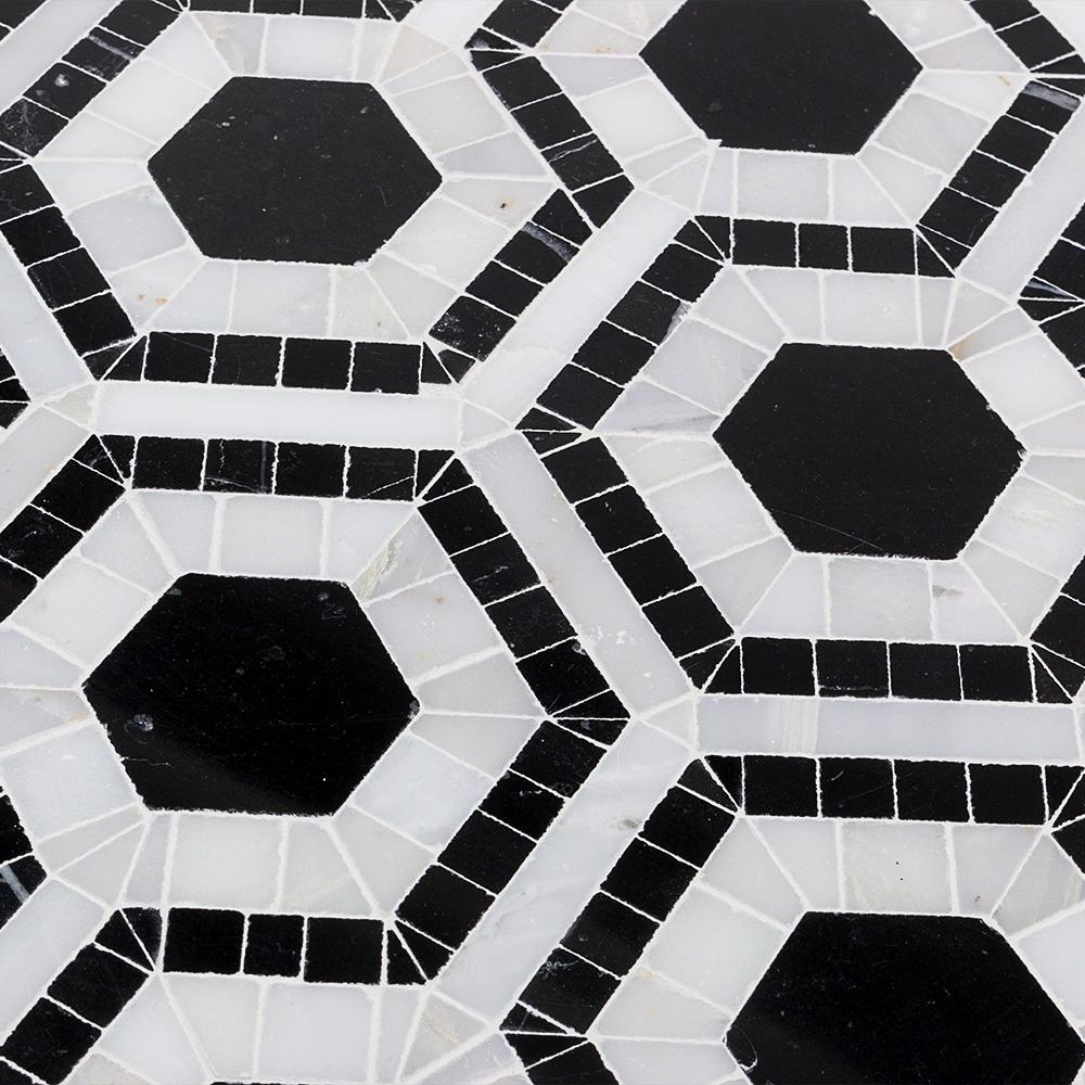 Splashback Tile Kosmos Black And Asian Statuary Hexagon Marble Mosaic 3 In X