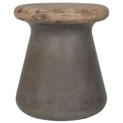 Button Dark Gray Stone Indoor/Outdoor Accent Table