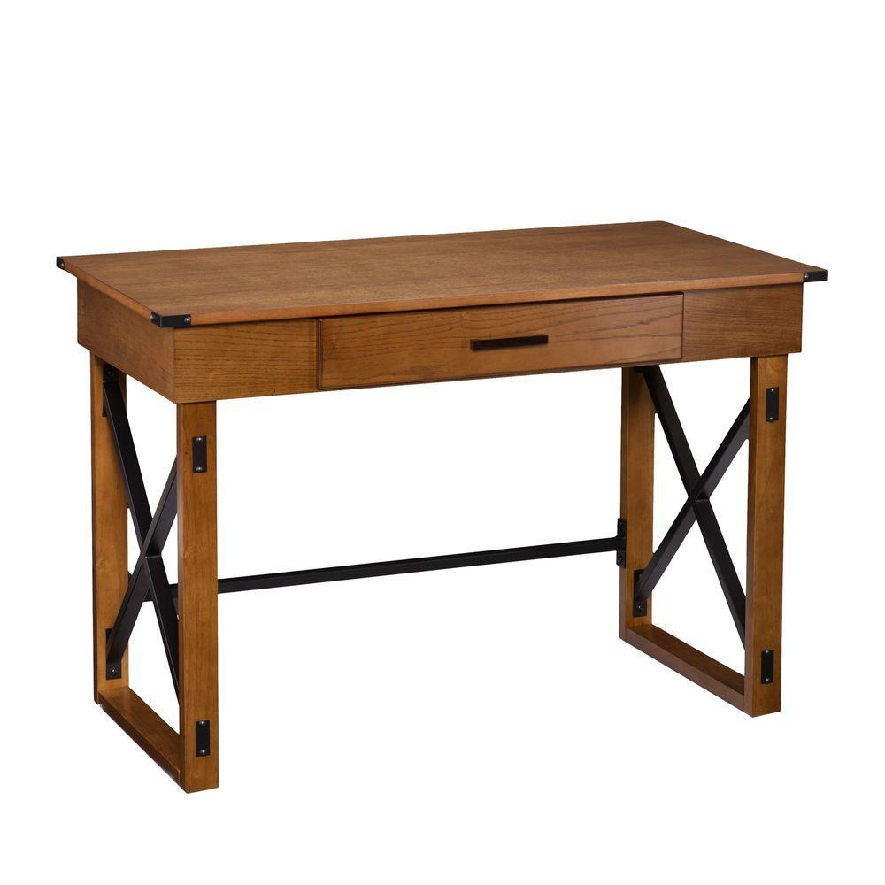 Zelma Distressed glazed pine with black Desk