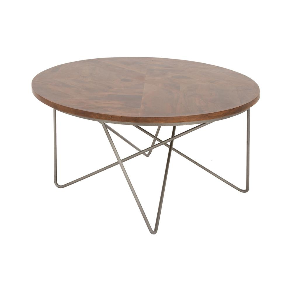 Polished Dark Brown Wood And Iron Round Coffee Table