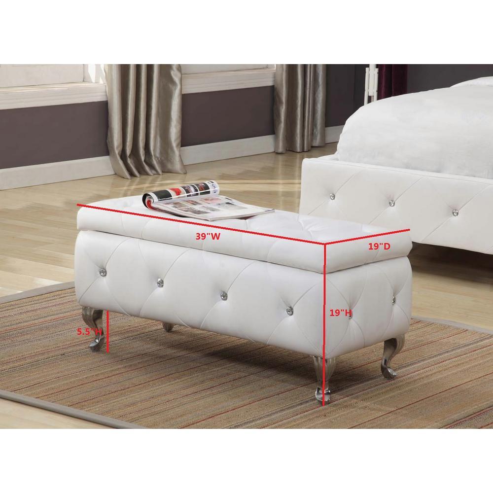 Fabulous White Vinyl Upholstered Tufted Storage Ottoman Bench Machost Co Dining Chair Design Ideas Machostcouk