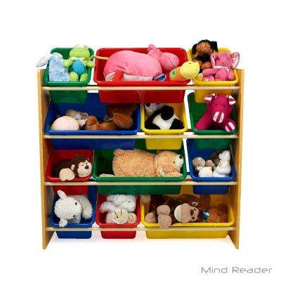 4-Tier Toy Storage Organizer with 12 Plastic Bins, Brown