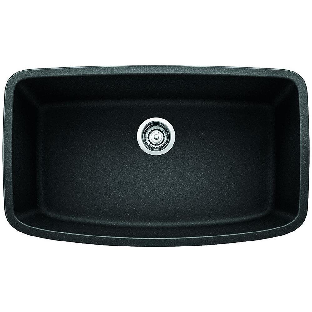Valea Undermount Granite Composite 32 in. Single Bowl Kitchen Sink in Anthracite