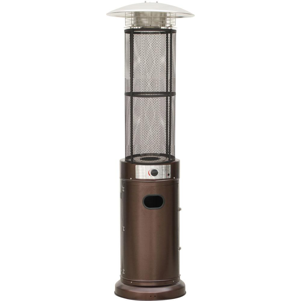 Hanover 6 Ft 34 000 Btu Bronze Cylinder Propane Gas Patio Heater With Glass Flame Display Han031brcl The Home Depot