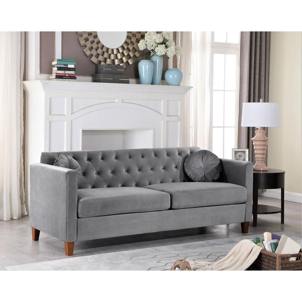 Lory velvet Kitts Classic Chesterfield Sofa Grey