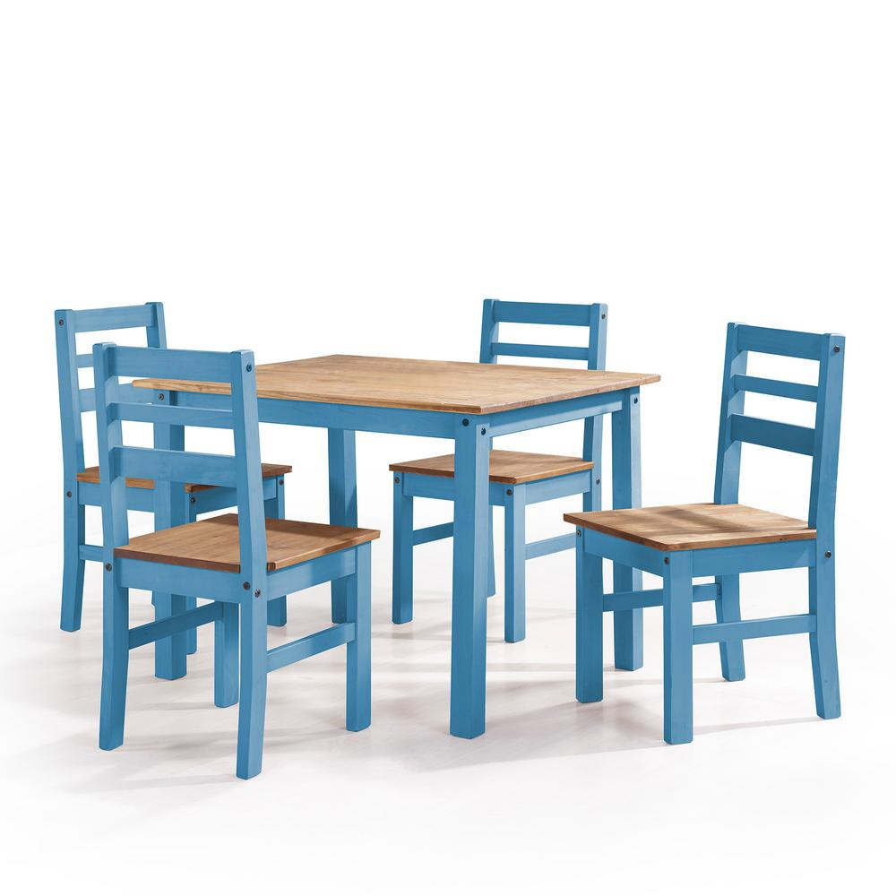 Manhattan Comfort Maiden 5 Piece Blue Wash Solid Wood Dining Set With 1 Table