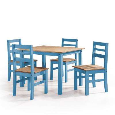 Maiden 5 Piece Blue Wash Solid Wood Dining Set With 1 Table And 4