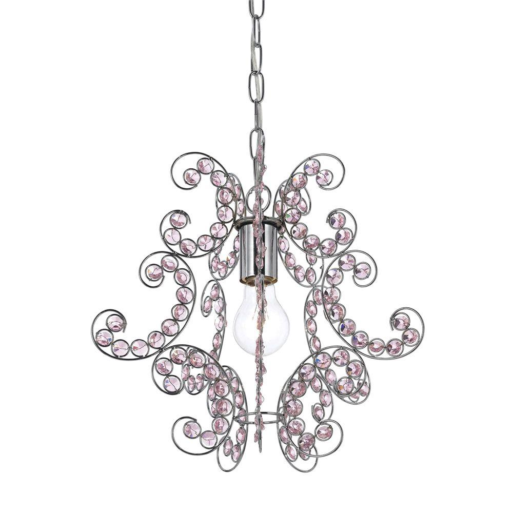 Pink chandeliers lighting the home depot sweet dream 1 light chrome mini chandelier with pink glass accents arubaitofo Gallery