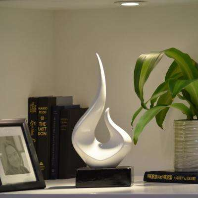 14.25 in. H Abstract Decorative Sculpture in White Gloss