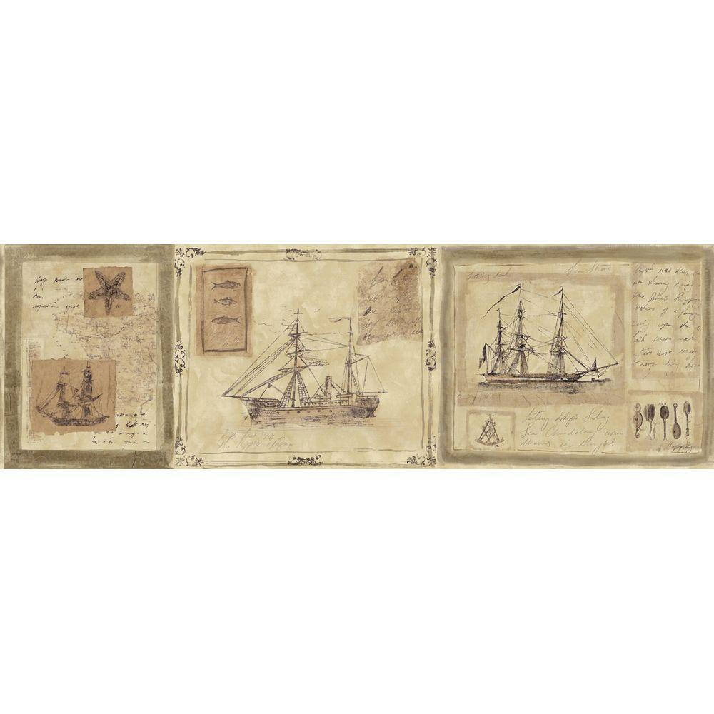 The Wallpaper Company 8 in. x 10 in. Neutral Nautical Ships Border Sample