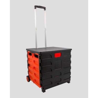 Foldable 60 Qt. Rolling Crate in Red/Black