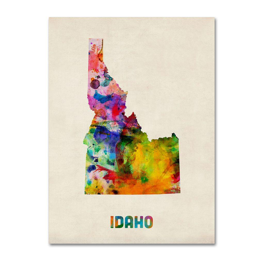 18 in. x 24 in. Idaho Map Canvas Art
