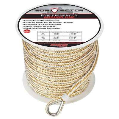 BoatTector 3/8 in. x 300 ft. Double Braid Nylon Anchor Line with Thimble in White and Gold