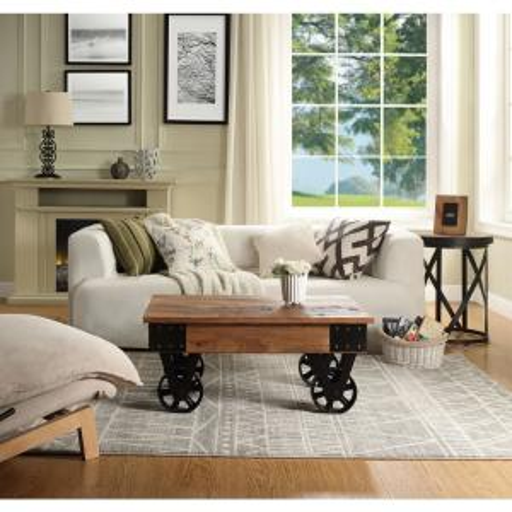 Mobile Coffee Table.Harper Bright Designs Brown Farmhouse Vintage Mobile Coffee Table