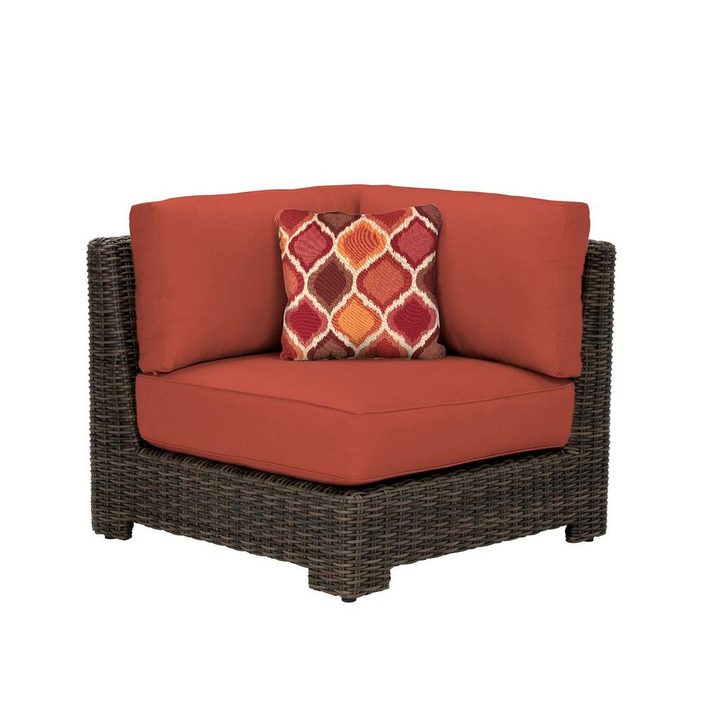 Northshore Corner Patio Sectional Chair with Cinnabar Cushion and Empire Chili