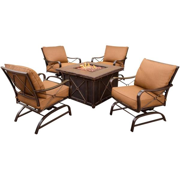 Bradford 5-Piece All-Weather Patio Fire Pit Conversation Set with Dark Tan Cushions