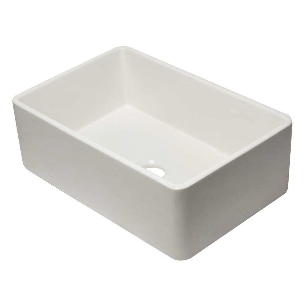 ALFI BRAND AB3020SB-W Farmhouse Fireclay 29.75 in. Single Bowl Kitchen Sink in White