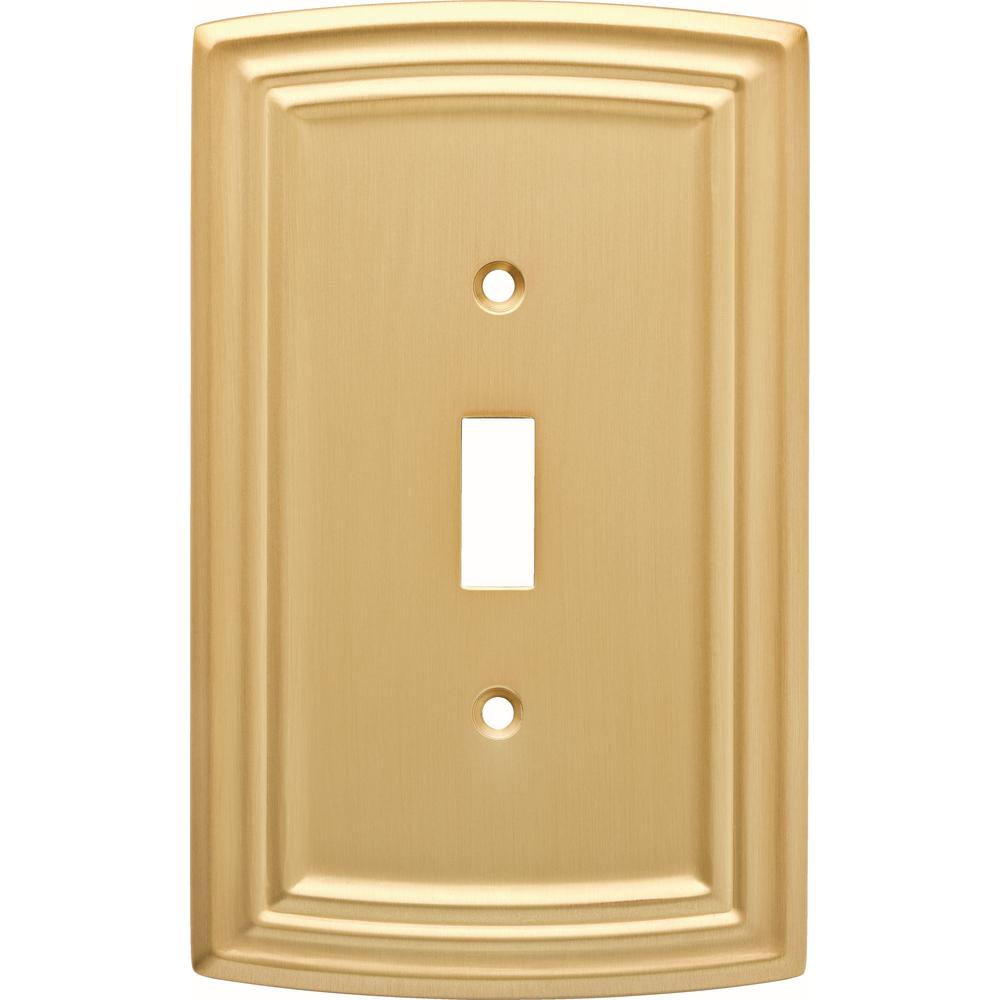 Hampton Bay Emery Decorative Single Light Switch Cover, Brushed Brass