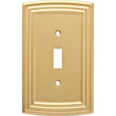 Emery Decorative Single Light Switch Cover, Brushed Brass