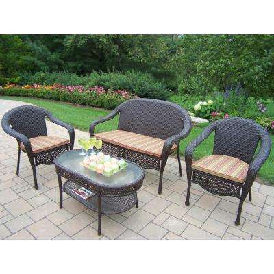 Elite Resin Wicker 4-Piece Patio Seating Set with Striped Cushions