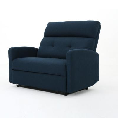 Halima 46.5 in. Navy Blue Tufted Polyester 2-Seater Reclining Loveseat with Square Arms