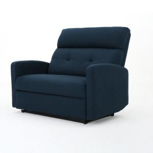 Sensational Noble House Halima Tufted Back Navy Blue Fabric Reclining Alphanode Cool Chair Designs And Ideas Alphanodeonline