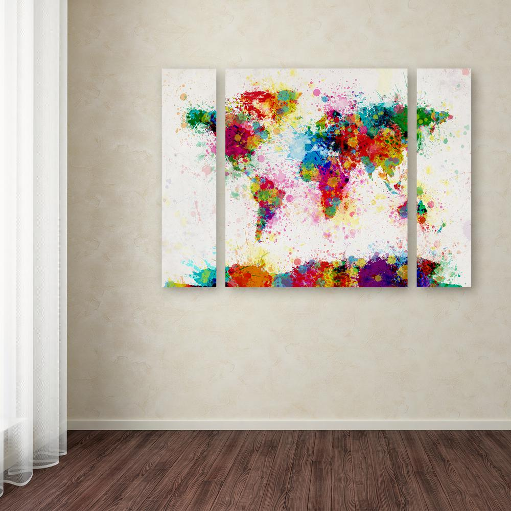 Trademark fine art 30 in x 41 in world map navy by michael quotpaint splashes world mapquot by michael gumiabroncs Gallery