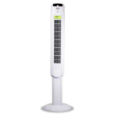 48 in Oscillating Tower Fan with Remote, White