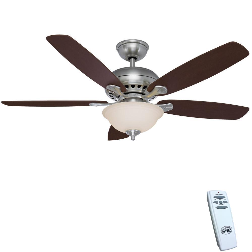 Hampton bay southwind 52 in led indoor brushed nickel ceiling fan led indoor brushed nickel ceiling fan with light kit and aloadofball Choice Image