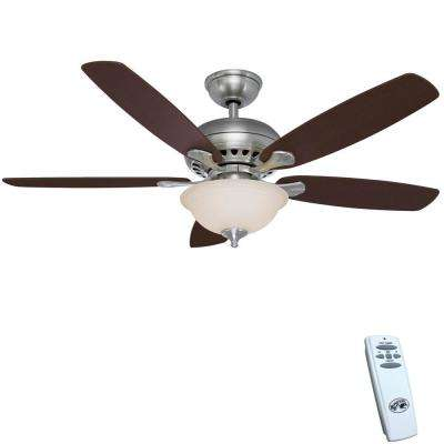 Hampton bay ceiling fans lighting the home depot led indoor brushed nickel ceiling fan with light kit and remote control audiocablefo
