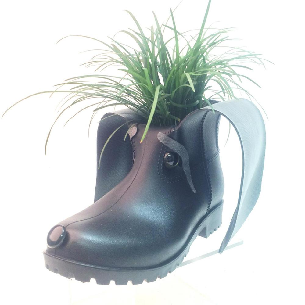11 in. Whisper the Boot Buddies Dog Sculpture and Planter Home and Garden Loyal Companion Black Figurine