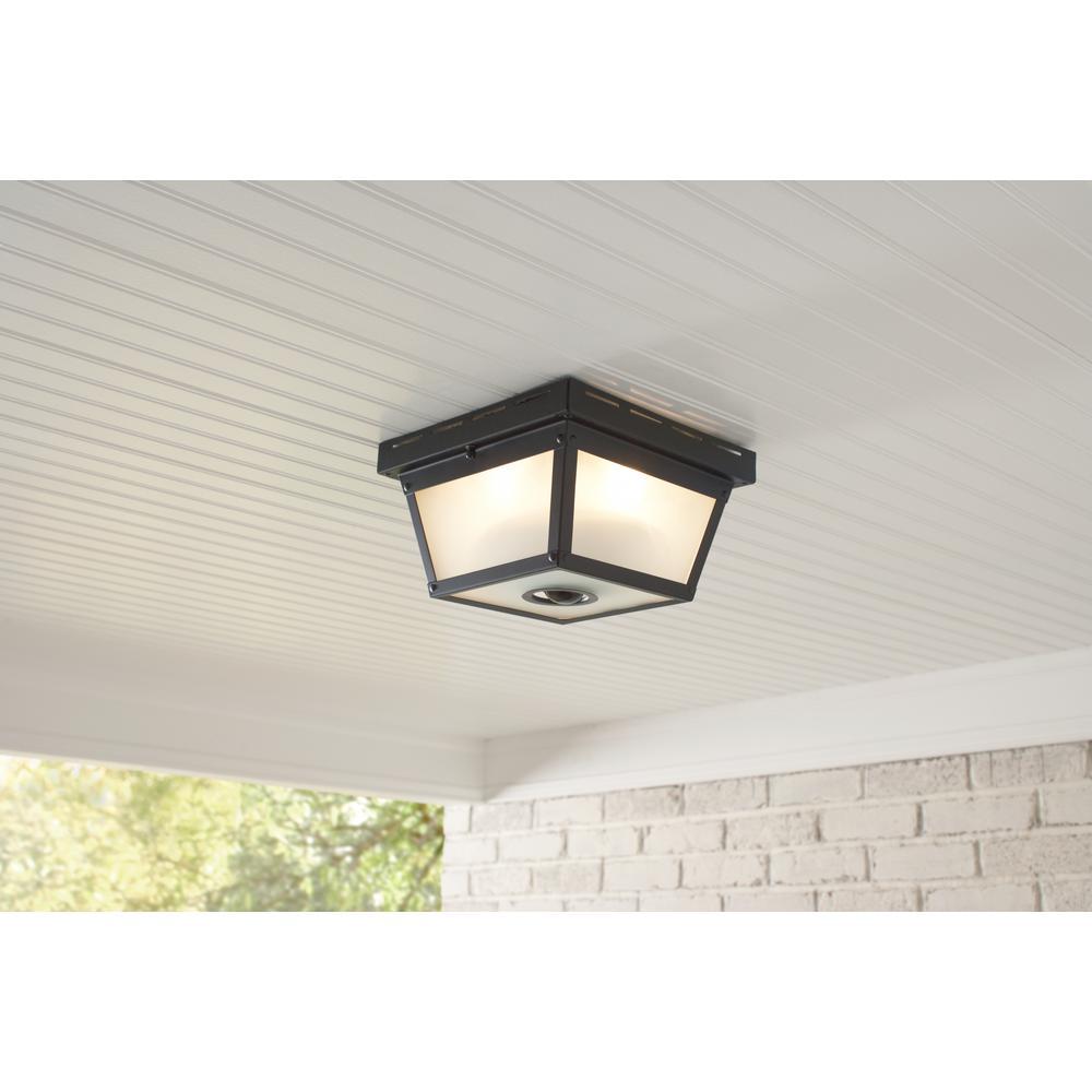 Hampton Bay 360° Square 4-Light Black Motion Sensing Outdoor Flush on