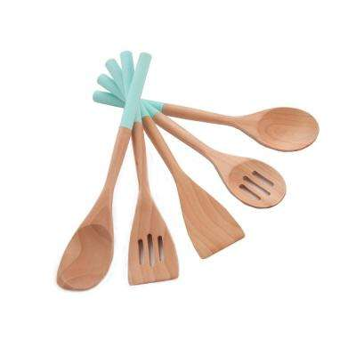 5-Piece Wooden Spoon with Silicone Grip Cyan