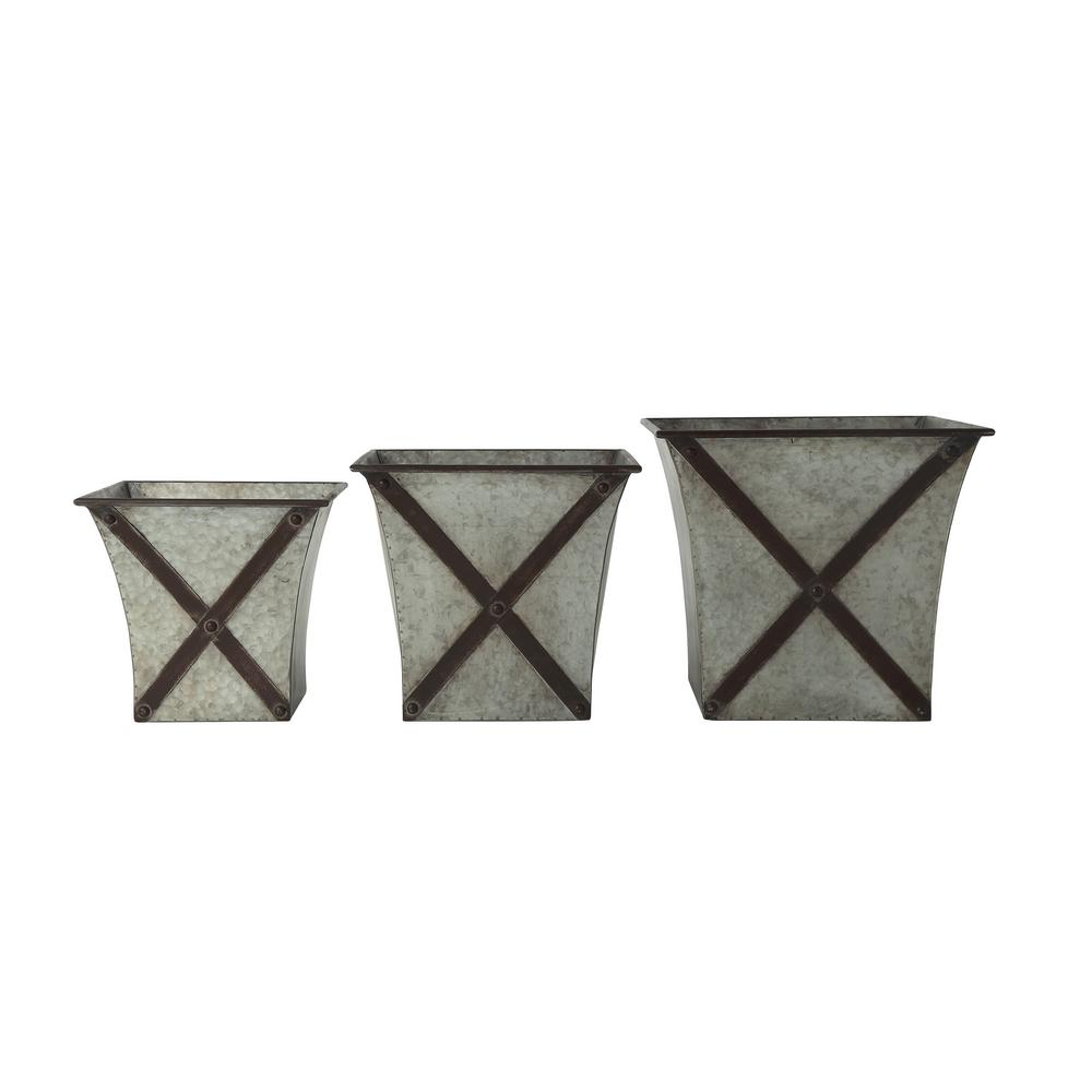 3R Studios 11.5 in., 13 in. and 14.75 in. H Grey and Black Galvanized Metal Planters (3-Pack)