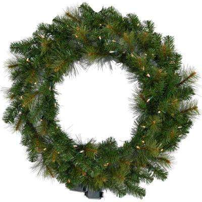 36 in. Southern Peace Artificial Holiday Wreath with Clear Battery-Operated LED String Lights