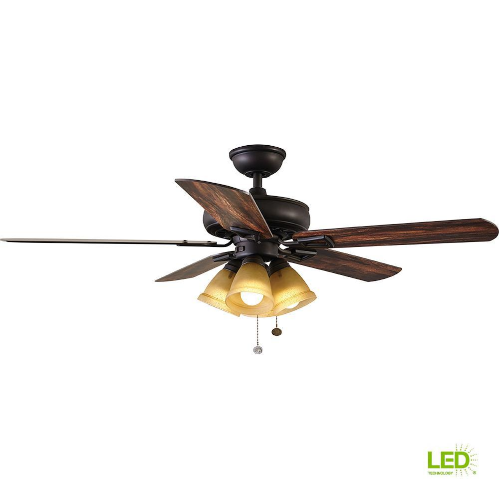 Hampton Bay Lyndhurst 52 In Led Oil Rubbed Bronze Ceiling Fan With Wire Gauge Chart Also House Light Wiring Diagram Together Kit