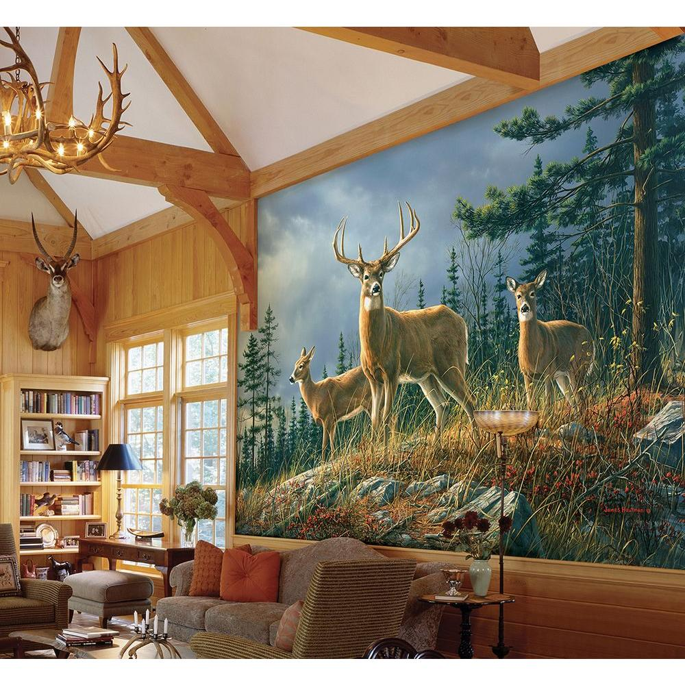 Ideal Decor 144 in H x 100 in W Autumn Whitetail Wall Mural DM151