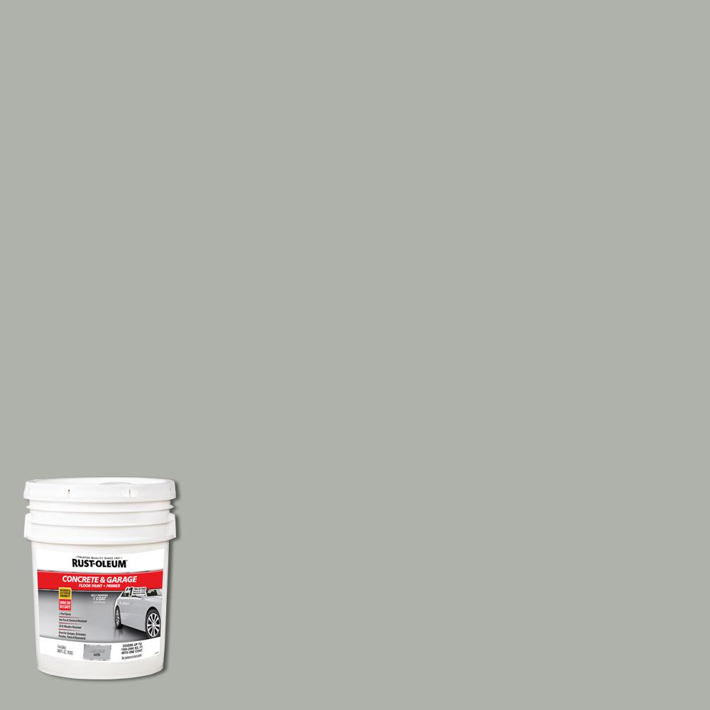 Rust Oleum 5 Gal Armor Gray Satin 1 Part Epoxy Concrete Floor Interior Exterior Paint 320173 The Home Depot