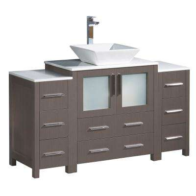 Torino 54 in. Bath Vanity in Gray Oak with Glass Stone Vanity Top in White with White Basin