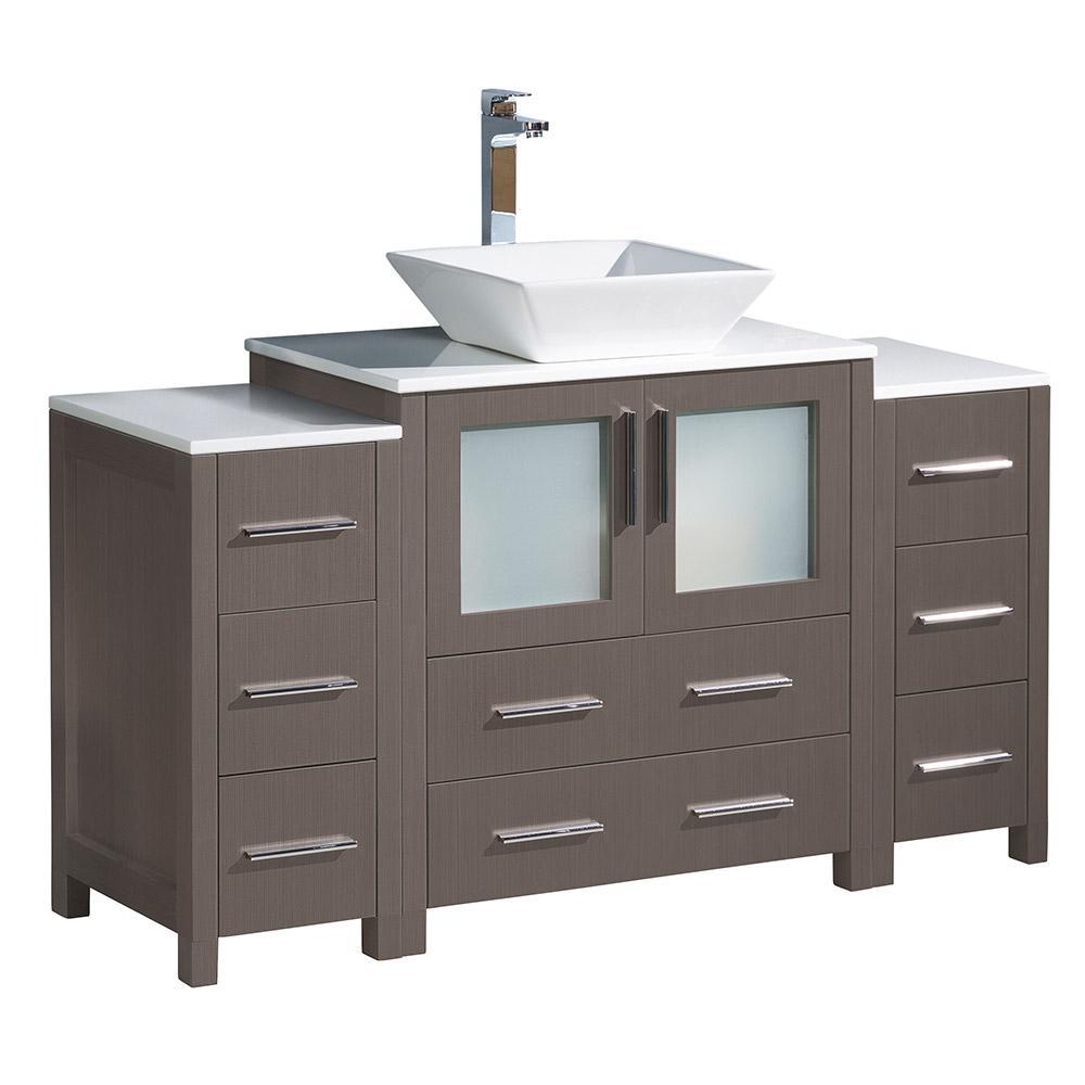 Torino 54 in. Bath Vanity in Gray Oak with Glass Stone Vanity Top in White with White Basin