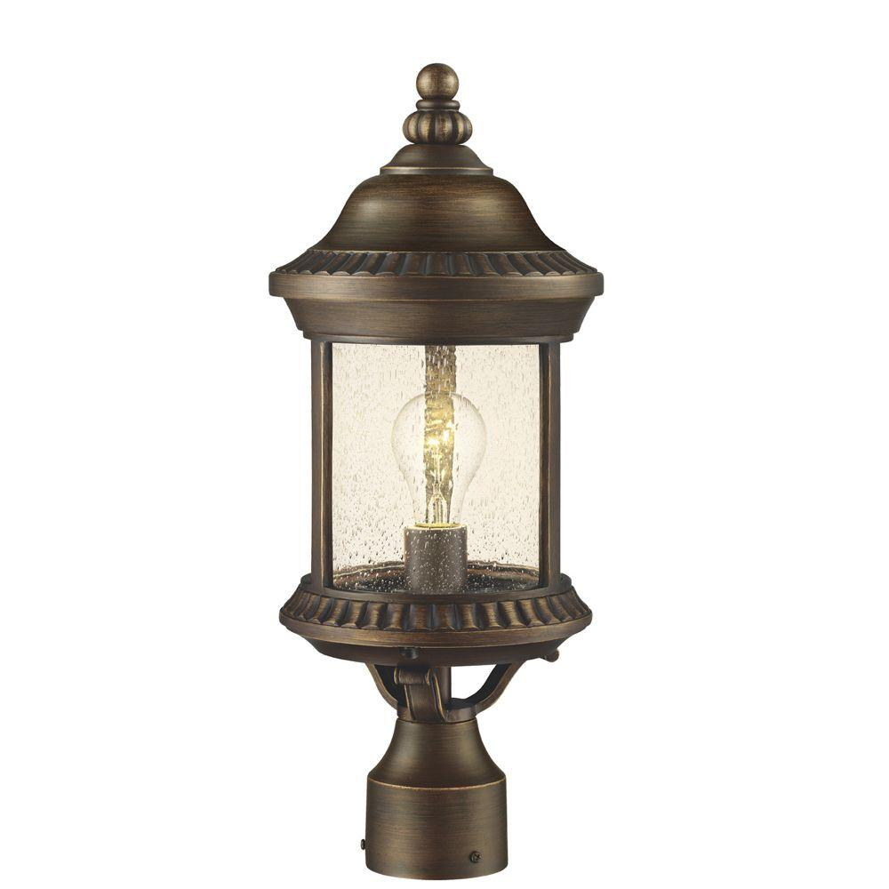Hampton Bay Cambridge 1-Light Outdoor Essex Bronze Post Lantern