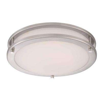 Brushed Nickel LED Low-Profile Flushmount with Frosted White Shade