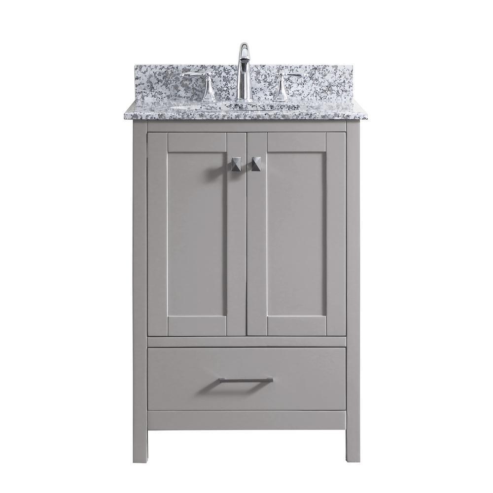 Caroline Madison 25 in. W Bath Vanity in Cashmere Gray with Granite Vanity Top in Arctic White Granite with Round Basin