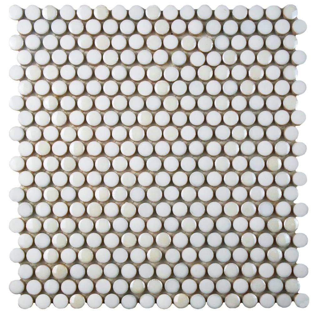 Merola Tile Galaxy Penny Round White 11-1/4 in. x 11-3/4 in. x 9 mm Porcelain Mosaic Tile
